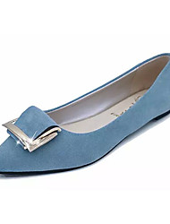cheap -Women's Flats PU Spring Summer Casual Flat Heel Black Blue Blushing Pink Light Blue Flat