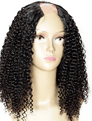 Color #1 Kinky Curly Upart Wig For Sale Jet Black Mongolian Hair 16Inch 1.5*4 Middle Part U Part Wig 130% Density