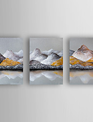 cheap -Hand-Painted  Abstract Landscape Set of 3 Canvas Oil Painting With Stretcher For Home Decoration Ready to Hang