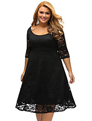 cheap -Women's Work Loose Dress - Solid Colored Black Low Rise U Neck
