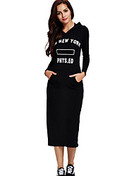 Women's Casual/Daily Simple Sheath Little Black Dress,Print Round Neck Midi Long Sleeve Black Polyester All Seasons Low Rise Micro-elastic