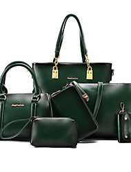 cheap -Women's Bags PU Bag Set 6 Pieces Purse Set Rivet for Formal Office & Career Outdoor All Seasons Black Brown Green Wine