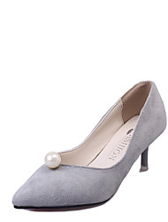 Women's Heels Comfort PU Spring Summer Casual Dress Comfort Pearl Stiletto Heel Black Light Grey Ruby Khaki 1in-1 3/4in