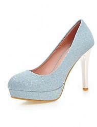preiswerte -Damen-High Heels-Hochzeit Büro Kleid Lässig Party & Festivität-Kunststoff PU-Stöckelabsatz-Komfort Neuheit-Blau Lila Silber Gold