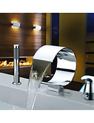 abordables -Robinet de baignoire - Jet pluie Chrome Diffusion large Mitigeur Trois trous