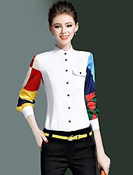 Chemise Femme,Couleur Pleine Décontracté / Quotidien simple Printemps Automne Manches Longues Col Ras du Cou Blanc Polyester Moyen