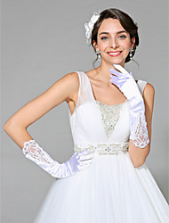 cheap -Satin Cotton Wrist Length Glove Charm Stylish Bridal Gloves With Embroidery Solid