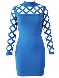 Femme Découpé Moulante Robe Soirée Sexy,Couleur Pleine Col Roulé Mini Manches Longues Bleu Polyester Spandex Eté Taille Haute Micro-élastique Fin