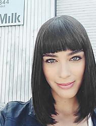 moderno bob a lungo i capelli umani taglio di capelli senza cappuccio parrucche acconciature per le donne e le ragazze 2017