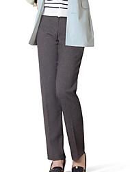 Women's Black/Brown/Gray Straight Pants , Vintage/Work/Plus Sizes