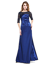A-Line Jewel Neck Floor Length Nylon Taffeta Formal Evening Dress with Beading Pleats by TS Couture®