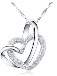 cheap -Women's Heart Pendant Necklace  -  Love Heart Silver Necklace For Party Anniversary Birthday