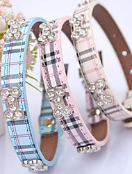 cheap -Cat Dog Collar Adjustable / Retractable Hands free Plaid/Check PU Leather Beige Blue Pink