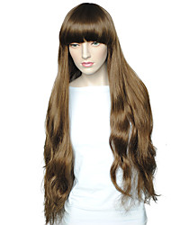 cheap -Women's Party Wig Brown Long Big Wavy With Air Bangs Heat Resistant Fiber Wig With Wig Cap