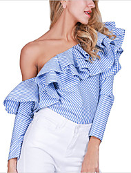cheap -Women's Party Formal Club Sexy Shirt,Striped Off Shoulder Long Sleeves Cotton