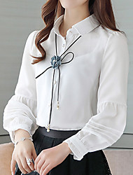 Women's Casual/Daily Work Simple Spring Summer Blouse,Solid Round Neck Long Sleeve Blue Pink White Polyester Thin