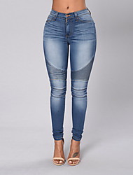 Women's Mid Rise Micro-elastic Jeans Pants,Simple Street chic Skinny Solid