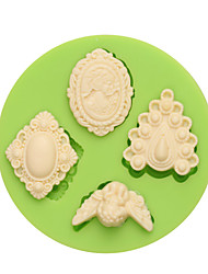 4 Different Gems Shaped Round Silicone Fondant Molds for Cupcake Art and Craft Color Random
