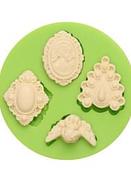 4 moules de fondant en silicone ronds en forme de gemmes différents pour l'art et l'artisanat de cupcakes au hasard