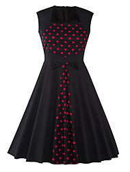 Damen Hülle Kleid-Party/Cocktail Retro Punkt Bateau Knielang Ärmellos Schwarz Baumwolle Polyester Sommer Hohe Hüfthöhe Mikro-elastisch