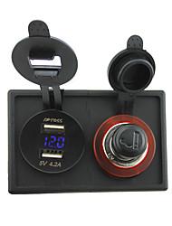 presa e 4.2a Dual USB adattatore voltmetro 12v / 24v accendisigari con pannello porta alloggiamento per barca auto camion rv
