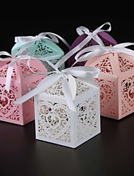 cheap -Round Square Cuboid Pearl Paper Favor Holder with Ribbons Printing Favor Boxes - 25