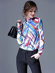 abordables -Mujer Trabajo Estampado Camisa, Cuello Camisero