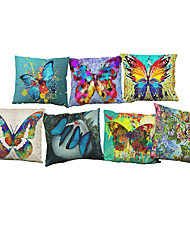 cheap -7 pcs Linen Pillow Case Pillow Cover, Solid Floral Textured Casual Beach Style Bolster Traditional/Classic Office/Business