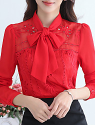 cheap -Women's Work Polyester Blouse - Solid, Bow Stand