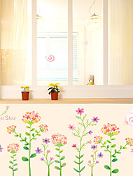 Romance Colorful Flowers Skirting Line Wall Stickers DIY Beautiful Star Flowers Wall Decals