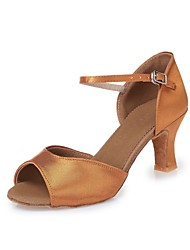 cheap -Women's Latin Dance Sneakers Modern Salsa Swing Shoes Satin Heel Practice Beginner Professional Indoor Performance Ribbon Tie Chunky Heel