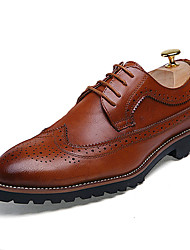 cheap -Men's Shoes Leather Spring Summer Fall Winter Oxfords Lace-up For Wedding Office & Career Party & Evening Black Brown Red