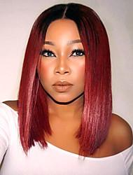 Femme Perruque Lace Front Synthétique Droite Rouge Ligne de Cheveux Naturelle Raie Centrale Coupe Carré Perruque Halloween Perruque de