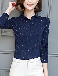 T-shirt Da donna Taglie forti Moda città Primavera Autunno,A pois Colletto Poliestere Blu Rosso Bianco Nero Grigio Manica lunga