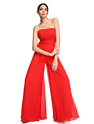 cheap -Sheath / Column Strapless Floor Length Chiffon Prom Formal Evening Dress with Draping Ruching by TS Couture®