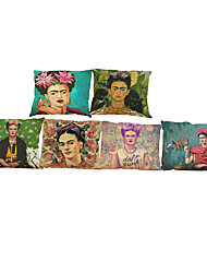 "Set of 6 Frida Kahlo Pillow Case Firm Flower Butterfly Self-portrait Sofa Bedroom(18""*18"")"