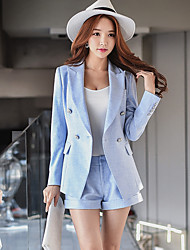 Women's Going out Casual/Daily Holiday Cute Street chic Sophisticated Spring Fall Blazer Pant Suits,Solid Notch Lapel Long Sleeve