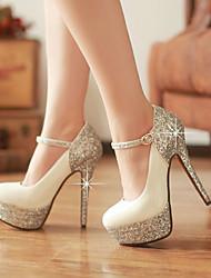 abordables -Mujer Zapatos Cuero Patentado Purpurina Primavera Verano Tacones Tacón Stiletto Dedo redondo Lentejuela para Boda Vestido Fiesta y Noche