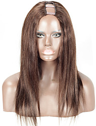 Brown Color #2 Human U Part Wig Malaysian Human Hair 16Inch 130% Density 1.5*4Inch Middle Part Upart Shaped Wigs