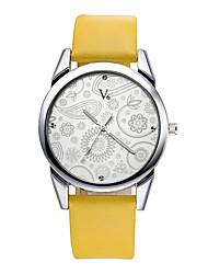 V6 Women's Dress Watch Fashion Watch Wrist watch Casual Watch Quartz Water Resistant / Water Proof / PU Band Flower Casual Black Brown