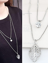 Women's Pendant Necklaces Rhinestone Simulated Diamond Alloy Leaf Double-layer Fashion Silver Jewelry Party Daily 1pc