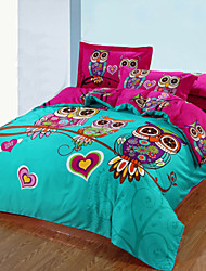 cheap -Duvet Cover Sets 3D 3 Piece Cotton Reactive Print Cotton 1pc Duvet Cover 2pcs Shams