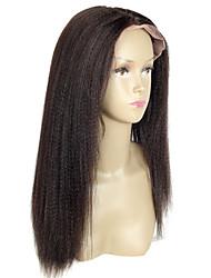 Yaki Straight Virgin Brazilian Human Hair Light Italian Yaki Full Lace Wig Glueless With Baby Hair for Women