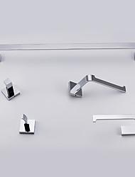 abordables -Set d'Accessoires de Salle de Bain Barre porte-serviette Porte Papier Toilette Crochet à Peignoir Moderne Chrome Fixation au Mur