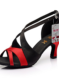 "economico -Scarpe da ballo - Disponibile ""su misura"" - Donna - Latinoamericano / Salsa / Samba - Customized Heel - Satin - Nero / Marrone / Rosso"