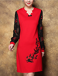 cheap -Women's Going out Plus Size Street chic Sheath Dress,Embroidered V Neck Above Knee Long Sleeves Polyester Spring Mid Rise Micro-elastic