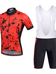 cheap -Miloto Men's Short Sleeves Cycling Jersey with Bib Shorts - Black Bike Shorts Bib Shorts Bib Tights Jersey, 3D Pad, Quick Dry,