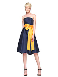 A-Line Strapless Knee Length Satin Stretch Satin Bridesmaid Dress with Bow(s) Sash / Ribbon by LAN TING BRIDE®