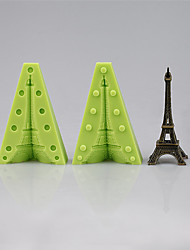 cheap -Two Silicone Molds Assembling to Make One 3D Eiffel Tower Fondant Mould Cake Decoration Tools Color Random