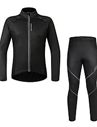 cheap -WOSAWE Long Sleeves Cycling Jersey with Tights - Black Bike Clothing Suits, Waterproof, Thermal / Warm, Fleece Lining, Spring, Polyester